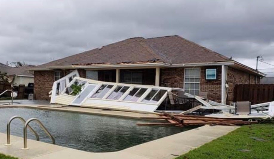 Sunroom destroyed by hurricane